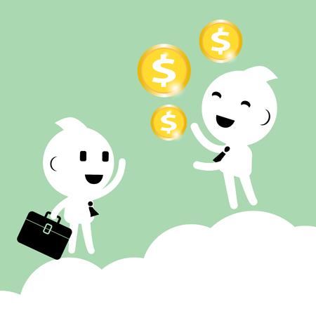 Businessman discuss vision of business plan above the cloud. Talking about money. dollar. Success business finance and marketing. Abstract Business strategy concept graphic vector illustration