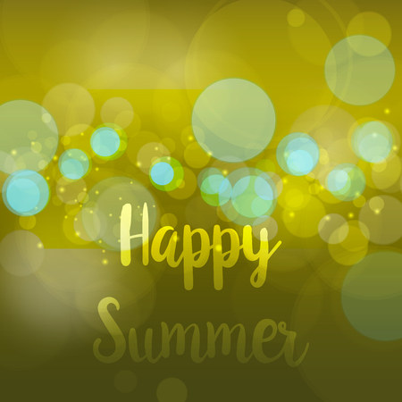 Happy Summer. Vector abstract bokeh blur background. Festive defocused lights. design illustraton graphic for summer party and holiday vacation Illustration