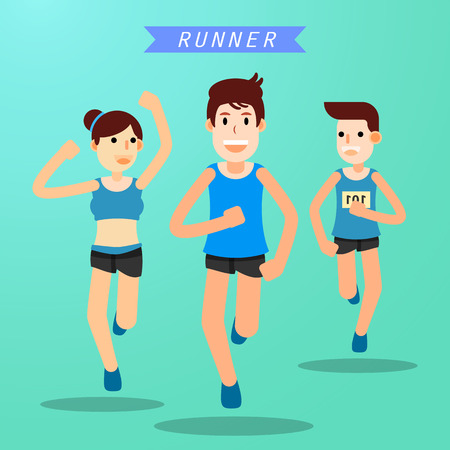 Young people running jogging for marathon race individual sport. Flat character city run training. Happy lifestyle. vector illustration design.