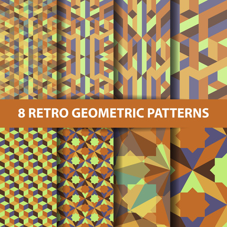 set of abstract retro geometric pattern yellow brown earth tone color. Vector illustration background eps 10 Illustration