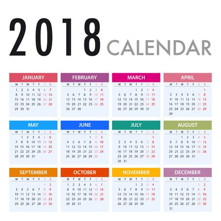 Calendario para 2018 sobre fondo blanco. La semana comienza el lunes. Simple Vector Plantilla