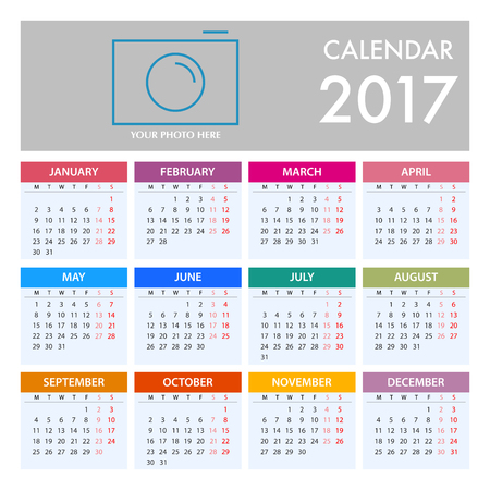 Calendar for 2017 on White Background. Week Starts Monday. Simple Vector Template Illustration