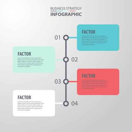 factor: Basic Business Infographics, strategy, timeline, design template illustration. Vector eps10.