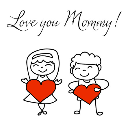 hand drawing cartoon character concept happy mothers day. Happy family, love and happiness idea vector illustration.