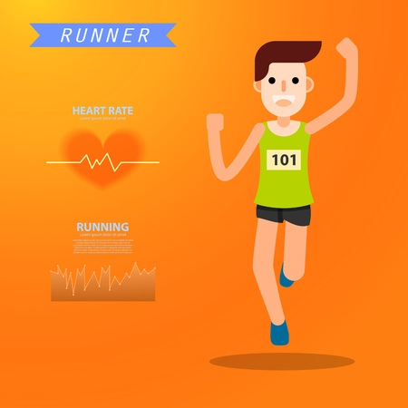 young man running jogging for marathon race individual sport. Flat character city run training. Happy lifestyle infographic. vector illustration design.