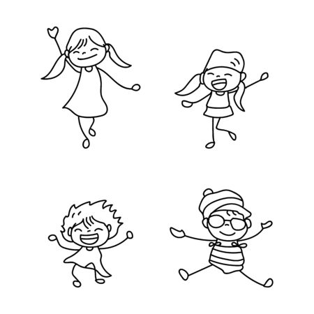 set of hand drawing cute girls line art. happy people. happiness concept and illustration