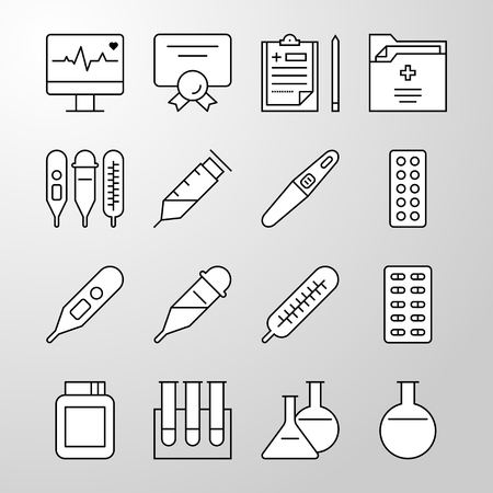 Set of simple Medical, Hospital, Healthcare professional and medical equipment thin line vector icon. Editable stroke. 64x64 Pixel perfect icons. Material design of web graphic. Premium quality outline symbol collection. Illustration