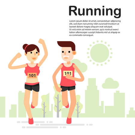 Young couple running jogging for marathon race individual sport in the park. Flat character city run training. Happy lifestyle. vector illustration design. Illustration