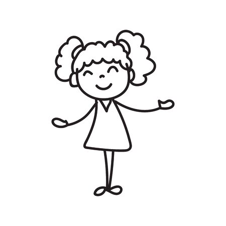 hand drawing cute girls line art. happy people. happiness concept and illustration