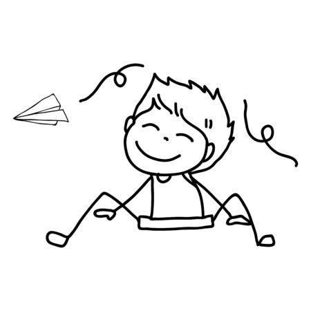 hand drawing cute boys line art. happy people. happiness concept and illustration