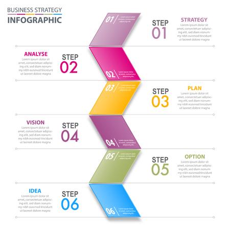 Infografía de negocios, estrategia, plan, opción, analizar, visión, ilustración de plantilla de diseño de idea con etiqueta plegable de colores. Vector eps10. Foto de archivo - 83825017