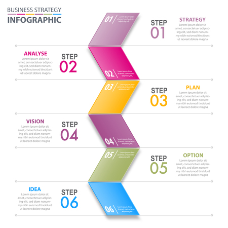 Business Infographics, strategy, plan, option, analyse, vision, idea design template illustration with colorful folding tag. Vector eps10.