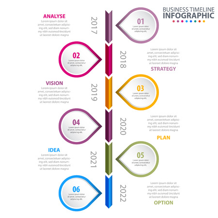 business infographics strategy timeline color vertical arrow