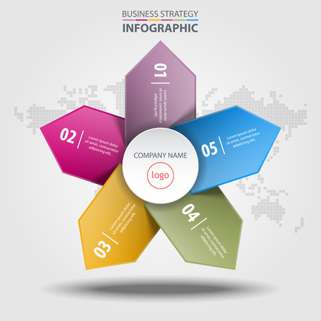 fact: Business Infographics colorful design elements template illustration.