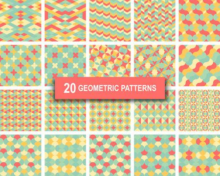 blue green background: Set of twenty pastel color geometric patterns abstract retro art deco gothic background. vector illustration eps 10 for web design, textile, screen, card, printing, design template Illustration