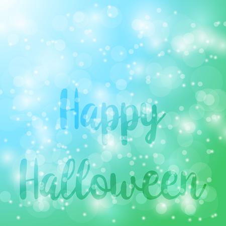 Happy Halloween. Vector abstract green bokeh blur background.
