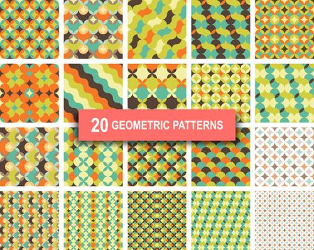 screen printing: Set of twenty pastel color geometric patterns abstract retro art deco gothic background. vector illustration eps 10 for web design, textile, screen, card, printing, design template Illustration