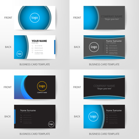 Set of vector modern and clean grey black and blue business card set of vector modern and clean grey black and blue business card name card design template cheaphphosting Images
