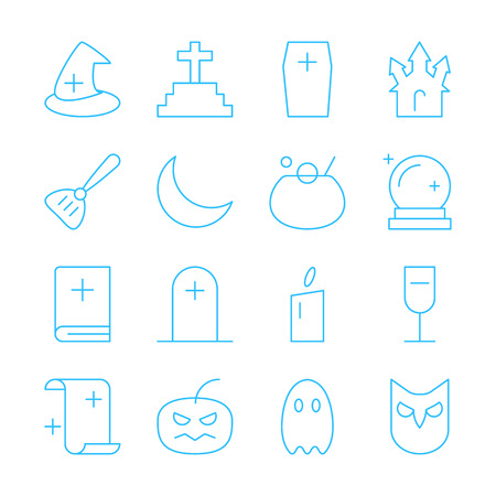owl illustration: Set of simple Halloween party thin line vector icon. Editable stroke. Pixel perfect icons. Material design of web graphic. Premium quality outline symbol collection.