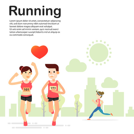 young couple running jogging for marathon race individual sport in the park. Flat character city run training. Happy lifestyle. vector illustration design.