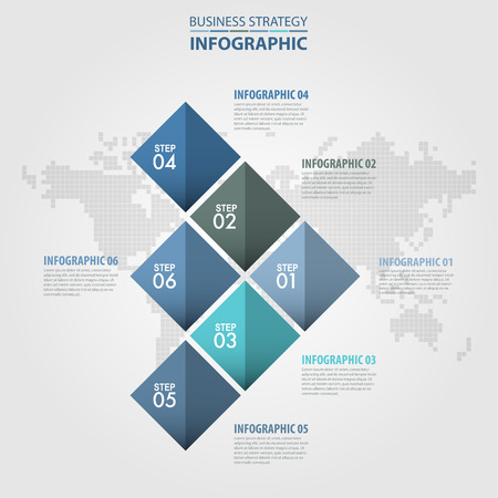 numbers abstract: Business Infographics 6 steps strategy design elements template blue grey color tone illustration. Vector eps10.
