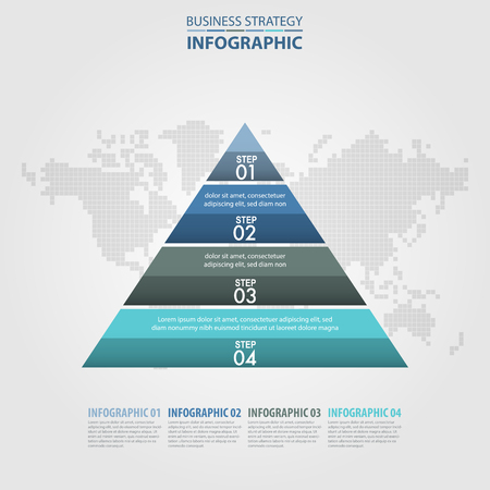 numbers: Business Infographics pyramid steps strategy design elements template blue grey color tone illustration. Vector eps10.