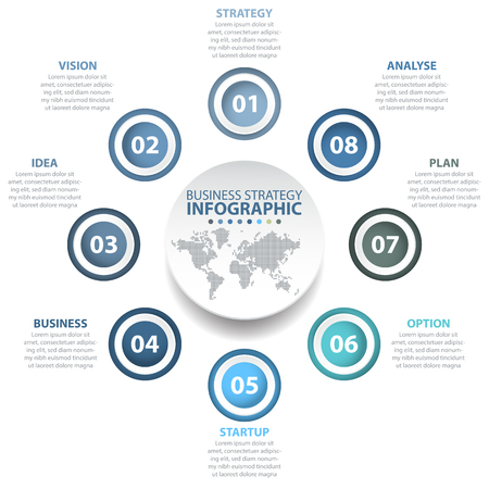 numbers: 8 options Business Infographics, strategy, timeline, design template blue grey color tone illustration. Vector eps10.