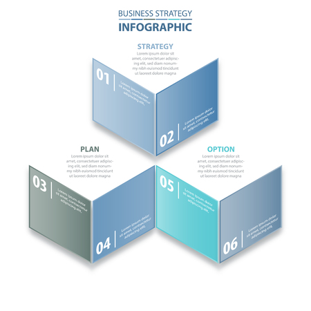 numbers abstract: 6 steps modern and clean Business Infographics, strategy, timeline, design template blue grey color tone graphic illustration. Vector eps10.