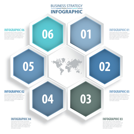 numbers: 6 modern and clean hexagon design elements Business Infographics, strategy, timeline, design template blue grey color tone graphic illustration. Vector eps10.