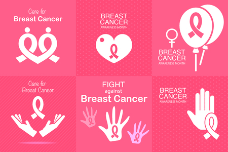 Set of Pink ribbon breast cancer awareness campaign for October symbol icon.