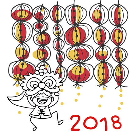 hand drawing cartoon character chinese people and kids happy chinese new year 2018 moon