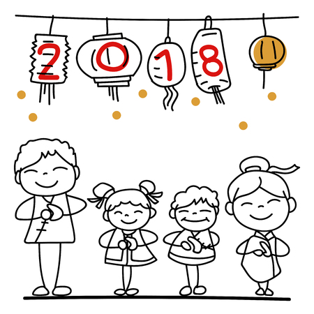 Hand drawing cartoon character Chinese people and kids. Happy Chinese New Year 2018, moon year, lunar year concept. Line art for coloring.
