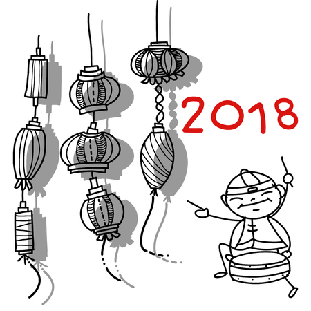 Hand drawing cartoon character Chinese people dancing lion dance and kid. Happy Chinese New Year 2018, moon year, lunar year concept. Line art for coloring. Illustration