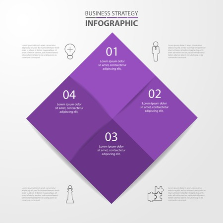 Basic Business Infographics, strategy, timeline, design template illustration. Vector eps10.