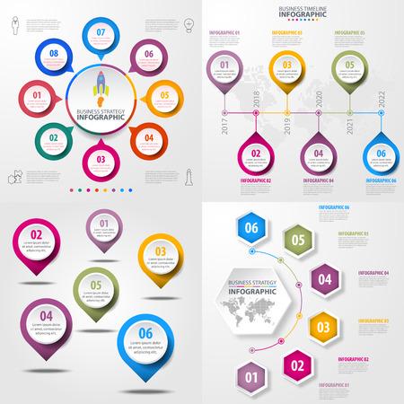 Set of Business Infographics, strategy, timeline, design template illustration. Vector eps10.