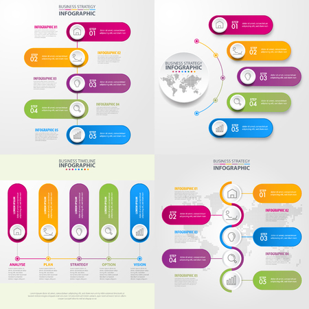Business Infographics, strategy, timeline, design elements template graphic illustration.