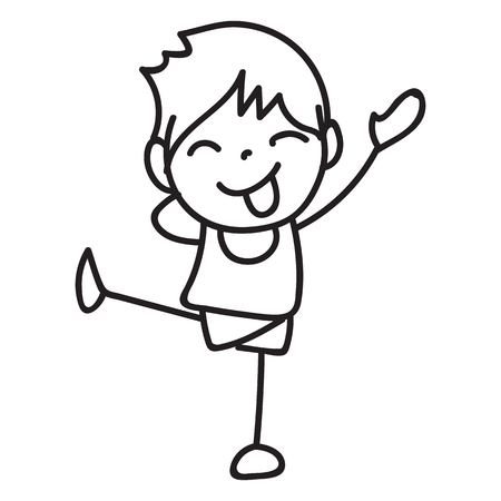 hand drawing cartoon character happy kid. abstract people happiness concept. boy and girl smile and joyful
