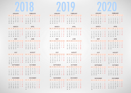 Calendar for 2018 2019 2020 on grey background. Week Starts Monday. Simple Vector Template