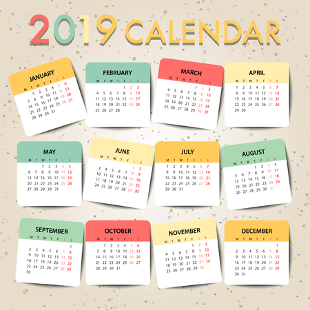 Pastel color Calendar for 2019 for organization and business. Week Starts Monday. Simple Vector Template. EPS10 Illustration