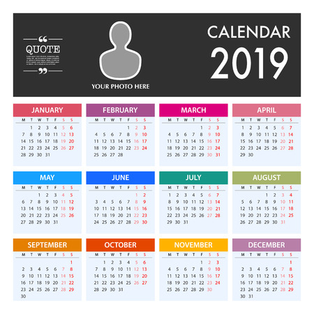 Calendar for 2019 on White Background. Week Starts Monday. Simple Vector Template Illustration