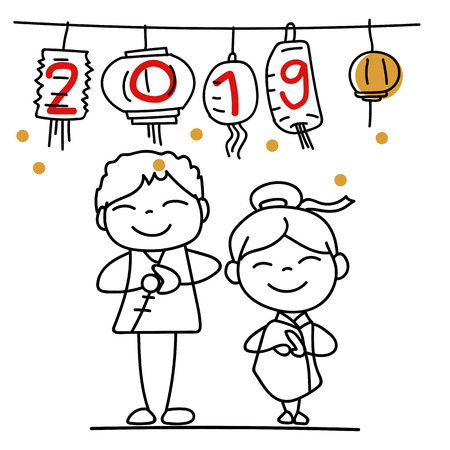 Hand drawing cartoon character Chinese people and kids. Happy Chinese New Year 2019, moon year, lunar year concept. Line art for coloring. Illustration
