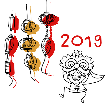 Hand drawing cartoon character Chinese people and kids. Happy Chinese New Year 2019, moon year, lunar year concept. Line art for coloring. Stok Fotoğraf - 126634468