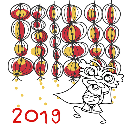 Hand drawing cartoon character Chinese people and kids. Happy Chinese New Year 2019, moon year, lunar year concept. Line art for coloring. Иллюстрация