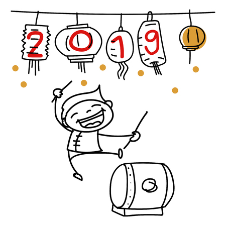 Hand drawing cartoon character Chinese people and kids. Happy Chinese New Year 2019, moon year, lunar year concept. Line art for coloring. Stok Fotoğraf - 126489505