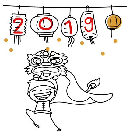 Hand drawing cartoon character Chinese people and kids. Happy Chinese New Year 2019, moon year, lunar year concept. Line art for coloring. Stok Fotoğraf - 126489512