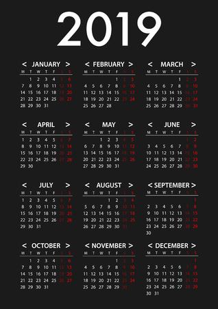 Calendrier pour la semaine 2019 commence lundi. Modèle de conception graphique vectorielle simple Vecteurs