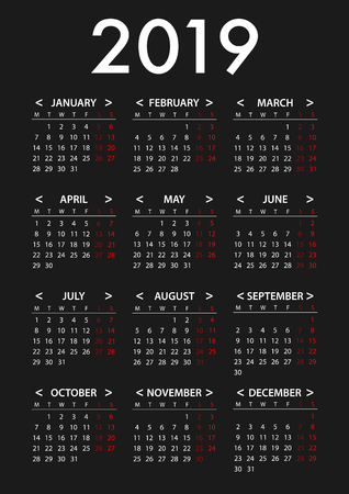 Calendar for 2019 Week Starts Monday. Simple Vector Graphic Design Template Illustration