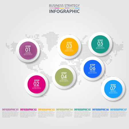 Business Infographics, strategy, timeline, design template illustration. Vector eps10. Stok Fotoğraf - 125709988