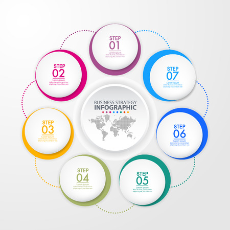 Business Infographics, strategy, timeline, design template illustration. Vector eps10. Stok Fotoğraf - 125709989