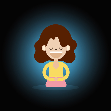 cartoon character woman sitting meditation for relaxation illustration for international women day activity